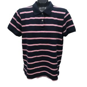 LL Bean Short Sleeve Blue Polo With Pink Stripes